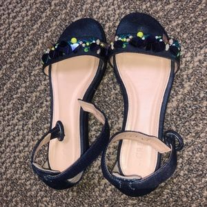 J. Crew Navy Blue Strapped Wedge Sandals
